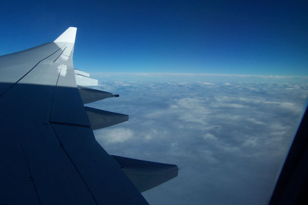 photo of view out the window of our plane from Frankfurt to Chicago